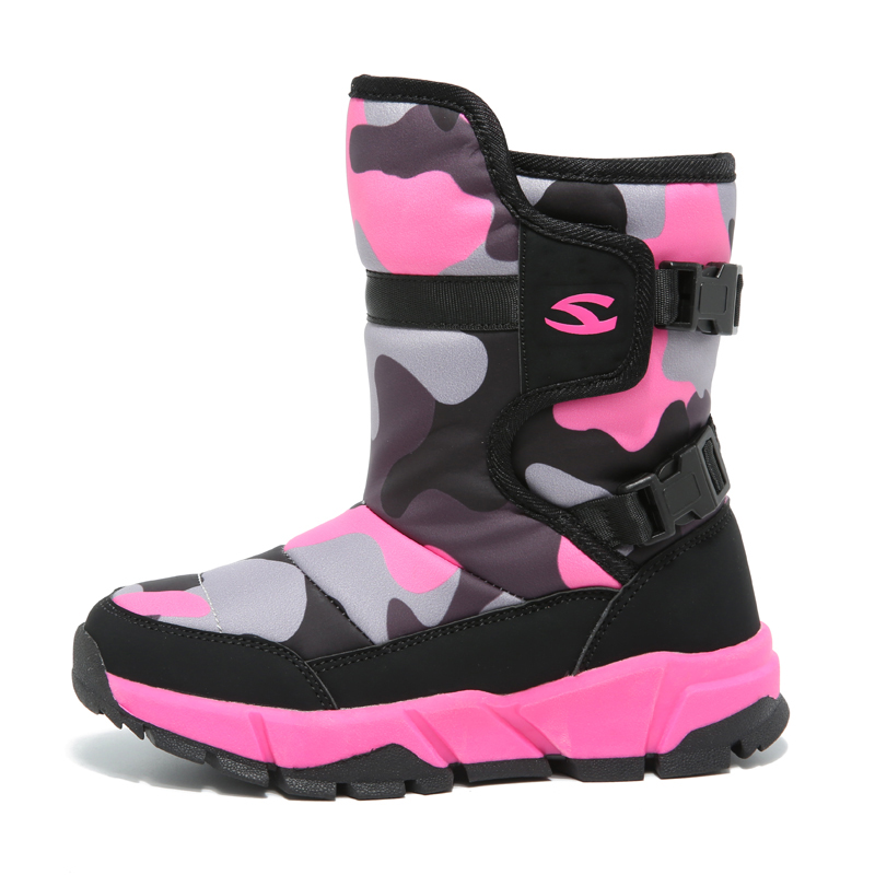 cfba8de8fa9 HOBIBEAR Children s Winter Boots Girls Snow Boots for Kids Winter Boots  Pink Camouflage Waterproof Warm Faux Fur Lined Shoes