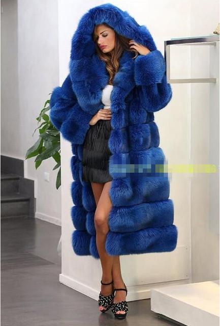 Abrigo de piel con capucha de piel de imitación de visón abrigo de 2016 nueva moda de invierno con capucha larga sección de grueso abrigo de pieles caliente del ocio de las mujeres PL019