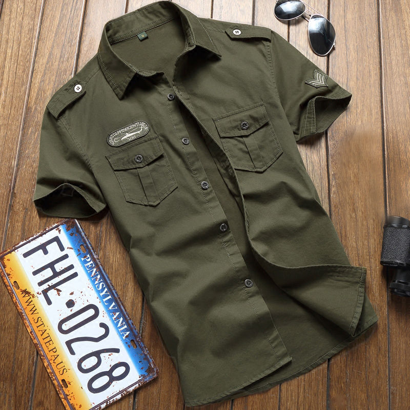 Military Shirt Men Tactics Short Sleeve Summer Tops Solid Color Pocket 5XL Plus Size Clothes