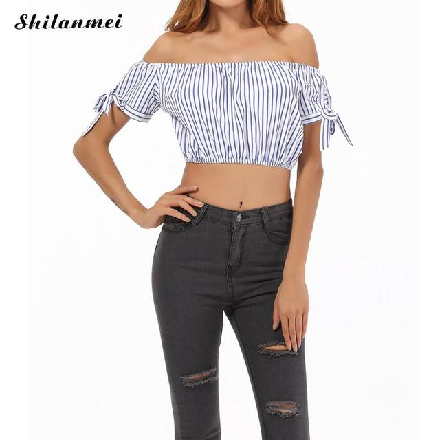 f8a601627f352 Summer white Striped Off The Shoulder Tie Cuff Tops Womens Casual backless  Blouse Party Shirts