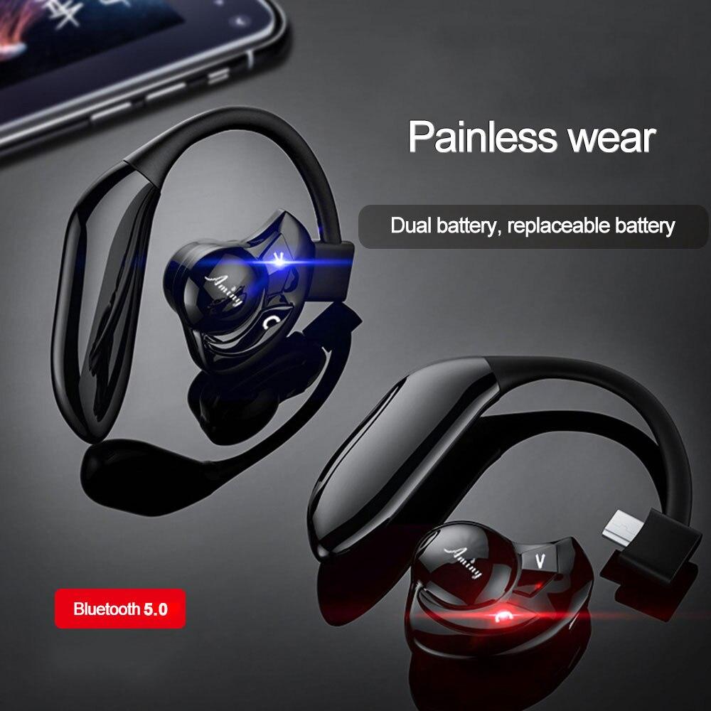 Aminy Wireless Bluetooth headphones V5.0 Dual battery Long battery life HIFI stereo wireless Earphones Noise Cancelling Headsets