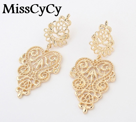 MissCyCy 2016 New Fashion Fine Jewelry Bohemia Style Hollow Alloy Leaves Stud Earrings For Women