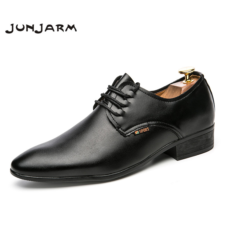 JUNJARM 2017 Fashion Men Formal Shoes Classic Men Flats Breathable Lace-up Men Dress Shoes Black Men Business Leather Shoes england carved men s business dress shoes leather men s shoes european version breathable black and white fight color shoes