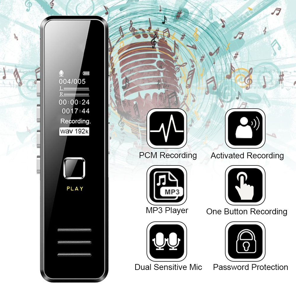Mini Digital Voice Recorder 192kbps 20-hour Recording MP3 Playing Mini Voice Recorder No Memory But Support 32GB TF Card
