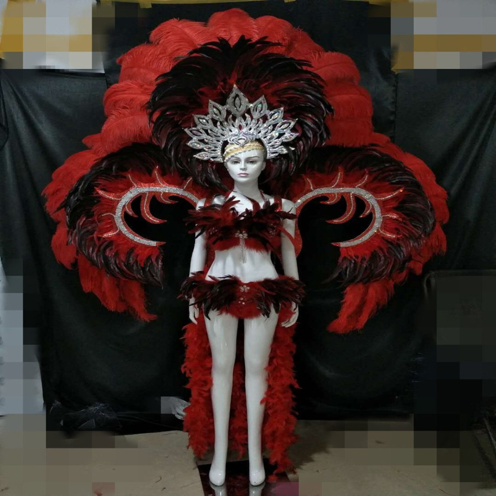 yellow red rose red blue orange color beautiful feather costumes samba performance