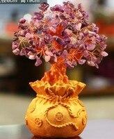 Regalos de navidad natural amatista cuarzo cristal gema árbol de dinero en riqueza dinero bahía