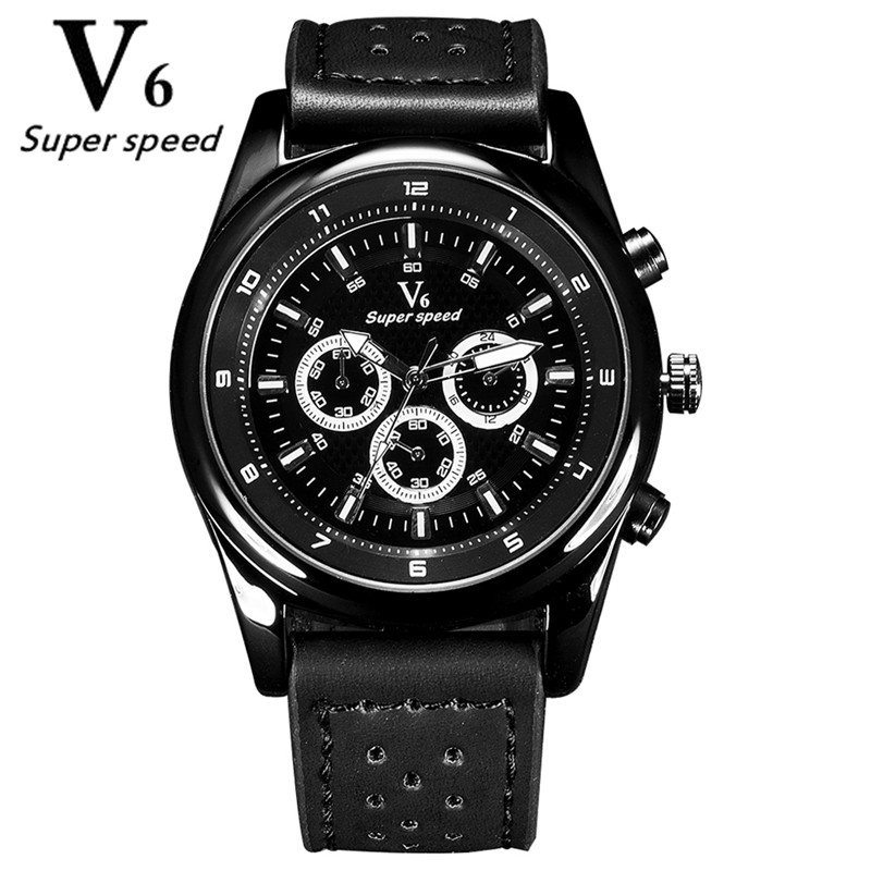 V6 Outdoor Sports Fashion Men Watches Quartz Hour Clock Man leather Strap Military Waterproof Wristwatch Relogio