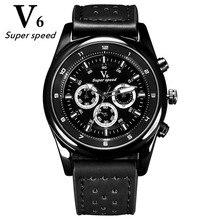 V6 Sports de Plein Air Mode Hommes Montres Quartz Heure Horloge Homme Bracelet en cuir Militaire Montre-Bracelet Étanche Relogio Masculino
