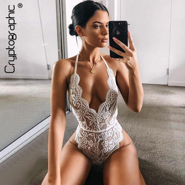9599bce27d Cryptographic Backless halter lace bodysuit transparent female body hot sexy  teddies 2019 jumpsuits women deep V