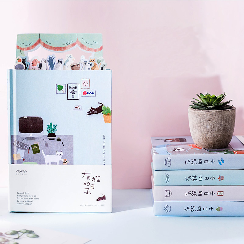 <font><b>Kawaii</b></font> Cat Personal <font><b>Diary</b></font> Planner Hardcover Color Pages <font><b>Diary</b></font> Book <font><b>Notebook</b></font> Weekly Schedule Cute Korean Stationery Flower Agenda image