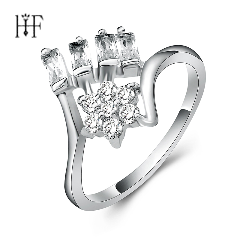 Gun Black Silver Colors Tears Of Flowers Finger Rings for Women font b Luxury b font