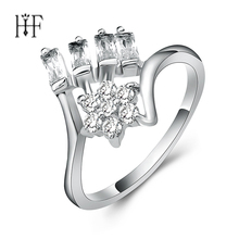 Gun Black /Silver Colors Tears Of Flowers Finger Rings for Women Luxury Jewelry Rectangular Champagne Cubic Zirconia Ring