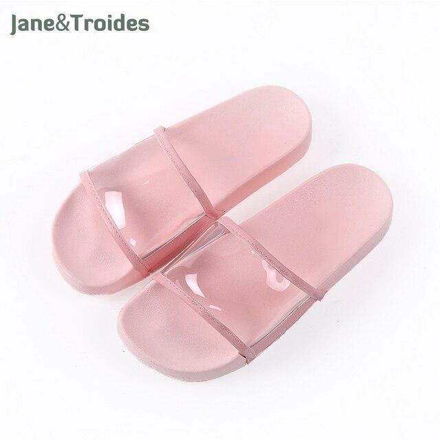 Летние туфли с открытым носком Прозрачные женские Тапочки для ванной душ противоскользящие Вьетнамки утепленные модные домашние женские туфли