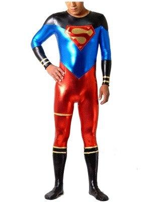 New Freeshipping Custom Made Superman Costume Shiny Metallic Superman Cosplay Halloween Costume