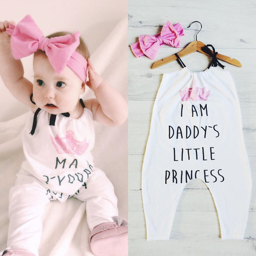 Puseky Newborn Baby Girls Romper Daddy's Princess Print Sleeveless Halter Jumpsuit+Headband 2PCS Outfit Clothes Sunsuit 0-24M kawaii shark print newborn baby girls strap romper jumpsuit one piece sunsuit outfit clothes