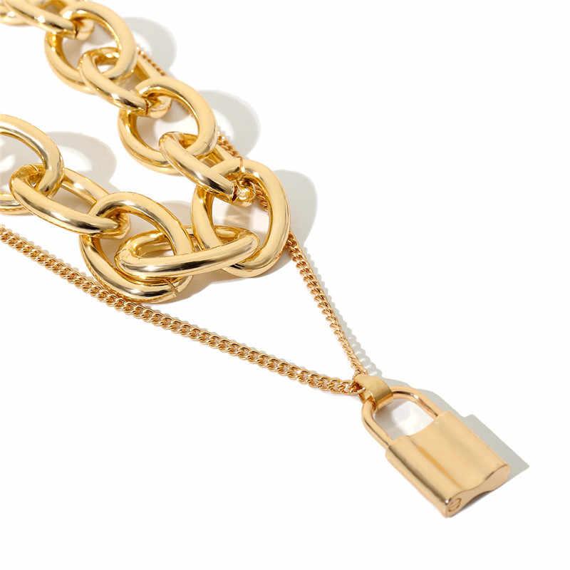 GIVVLLRY Punk Chunky Curb choker łańcuszek barokowy rocznika 2 warstwy materiały łańcuszki na szyję Chic złoty srebrny zamek wisiorek naszyjnik biżuteria