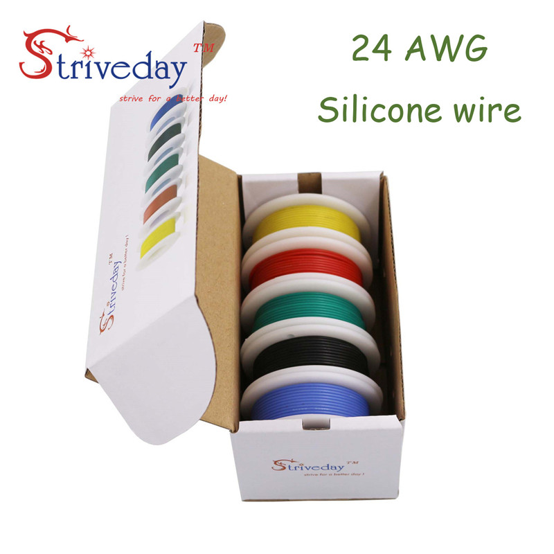 цена на 30m 24AWG Silicone Wire 5 color Mix box 1 box 2 package Electrical Wire Line Copper