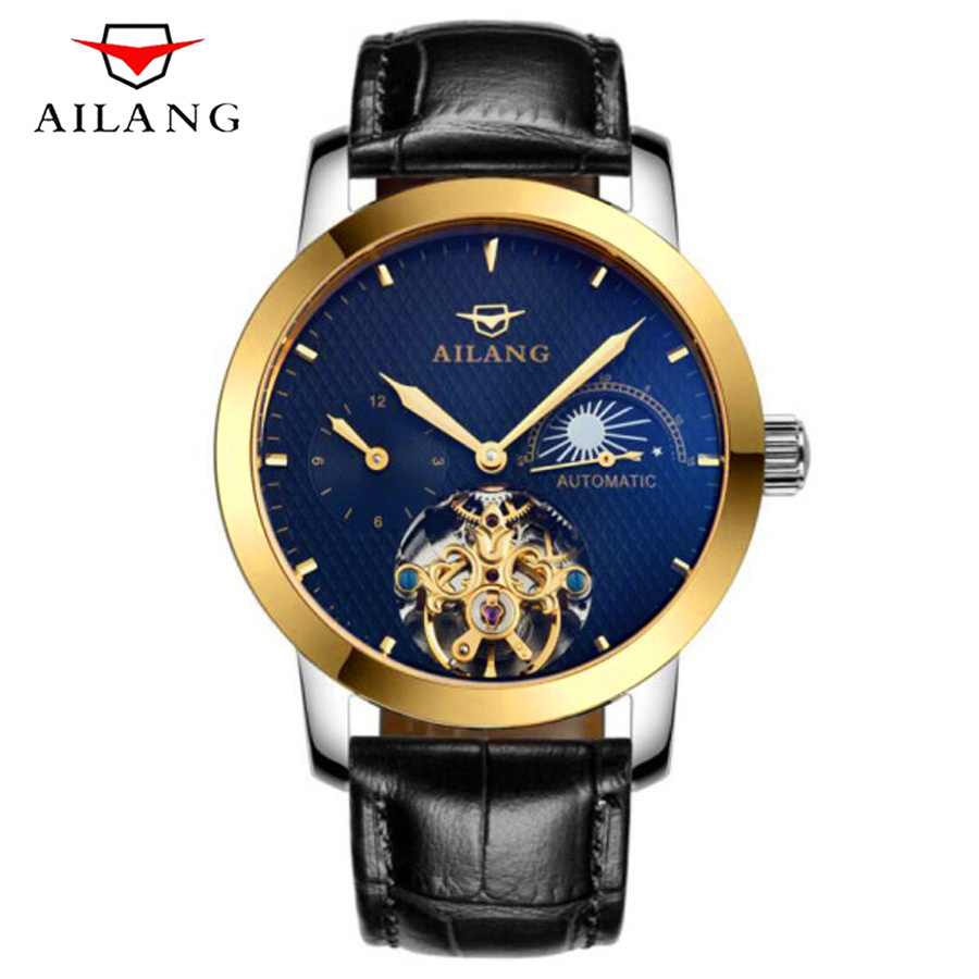 AILANG Mechanical Men's Watch Top Brand Luxury Automatic Watch Men relogio Genuine Leather Moon phase Tourbillon Wristwatch 2018 ailang sapphire automatic mechanical watch mens top brand luxury waterproof brown genuine leather watch relogio masculine