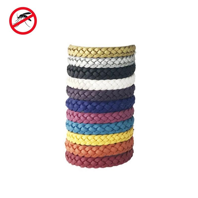 High Quality 10 Pcs Leather Mosquito Repellent Braided Bracelet Outdoor Hiking Camping Mosquito Wristband Random Color Delivery