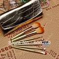 7 Pcs Professional Makeup Brush Cosmetic Brushes with Gold Leather Case