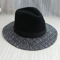 Kış Moda Patchwork Büyük Ağız Siyah Kadınlar Için Yün Fötr Şapkalar Keçe Chapeau Panama Ücretsiz Kargo WMDW-037
