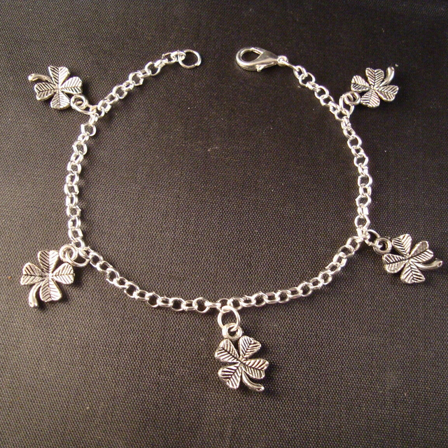 Fashion antique silver small 4 leaf clover shamrock pendants fashion antique silver small 4 leaf clover shamrock pendants stretchy bracelet glass beaded braceletsbangle diy aloadofball Images