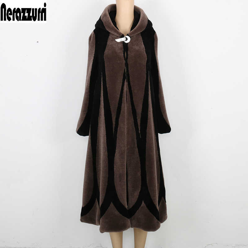 Nerazzurri Winter real sheep fur coat women hooded patchwork fur coats plus size vintage Elegant Long shearling overcoat 5xl 6xl
