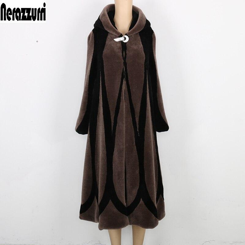 Женское зимнее пальто с натуральным мехом, с капюшоном, в стиле пэчворк, большие размеры, винтажное Элегантное длинное пальто с овечьей шерс...