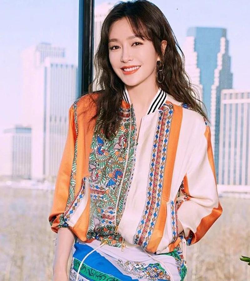 Kadın Giyim'ten Basic Ceketler'de 2019 Yeni Kadın Çiçek Baskı Taze Ceket Ceket'da  Grup 1