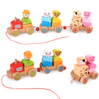 3D Puzzle Children's Wooden Car Model Farm Animal Model Toy 3 Section Small Train Children Early Education Toys