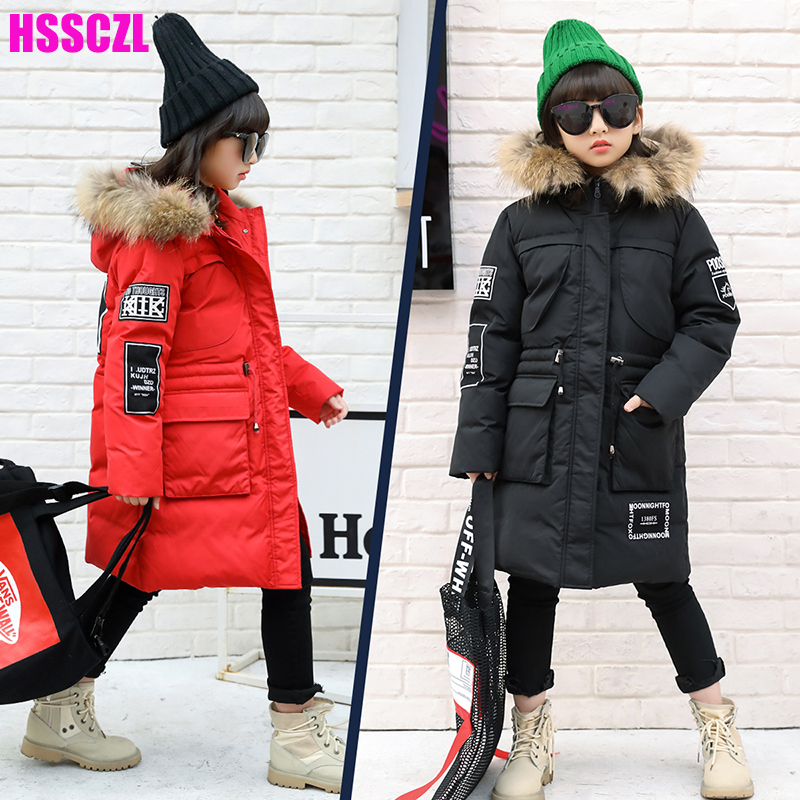 HSSCZL Girls Down Jackets 2017 Brand children 's Down Jacket Long Winter Thick Coat Outerwear Overcoat Hooded Real Fur 7-14A mioigee girls fashion fur collar winter outerwear hooded thick children girls long duck down jacket coat high quality