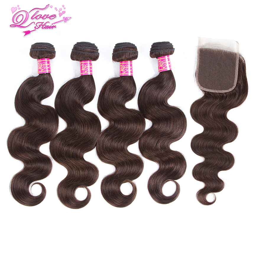 Queen Love Hair Pre-Colored 100% Human Hair Malaysia Hair Body Wave 4 Bundles With Closure #2 Color Free Shipping