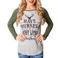 Women T Shirt O-Neck Contact Color Raglan Long Sleeve Deer Letter Print Slim Fit T-Shirt Autumn Winter Stretch Tee Shirt Femme