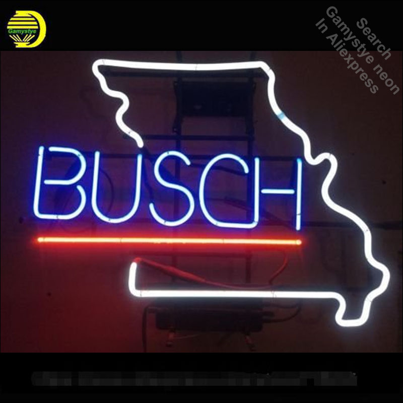 Neon Sign for Busch Beer Missouri Neon Tube vintage Pup Business sign handcraft Lamp Store Displays Gifts light Flashlight sign