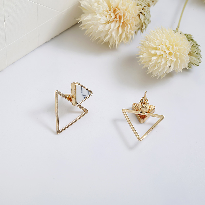 New Earrings Fashion Simple Stud Earrings Personality Trend Push-back Triangle Earrings Wholesale Jewelry Women's Earrings 4