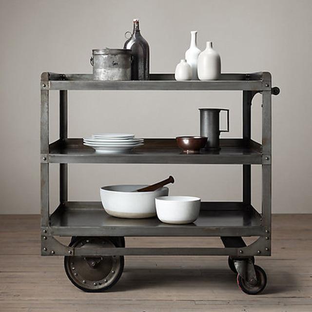 Европейский стиль деревня, классической моды железный столик, вагон-ресторан, с четырьмя колесами, 100% металла обеденный стол, обеденный столик