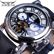 Jaragar Tourbillion Design 2019 Roman Luxury Black Genuine Leather Belt Men Fashion Automatic Wrist Watch Top Brand Luxury Clock forsining tourbillion design genuine leather calendar display obscure dial mens clock top brand luxury automatic wrist watches