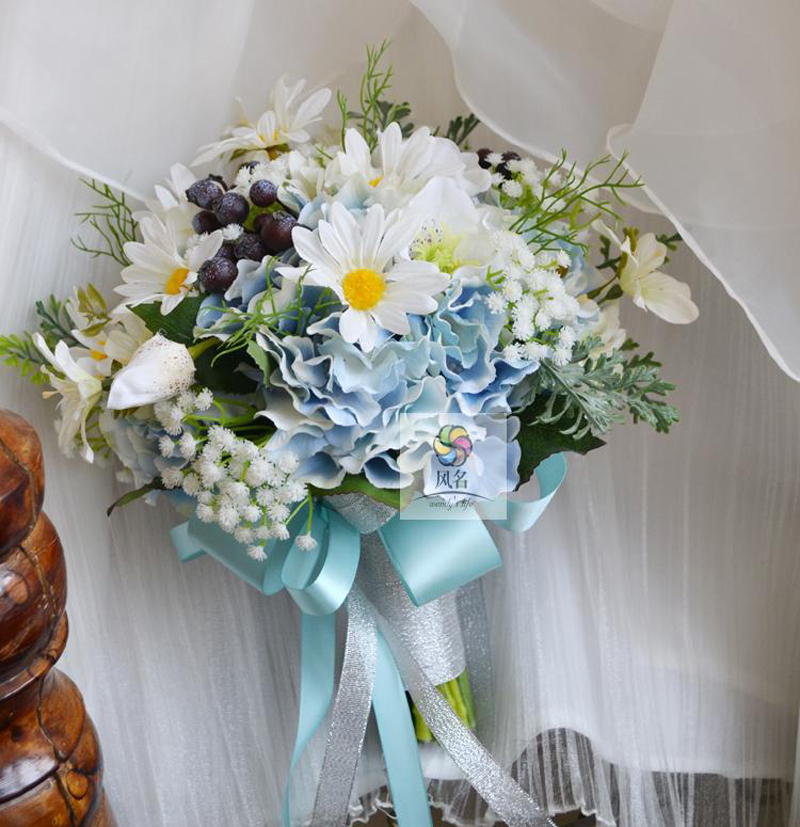 New Wedding Bouquet Flower Floral Bridal Bridesmaid Bouquets Blue ...