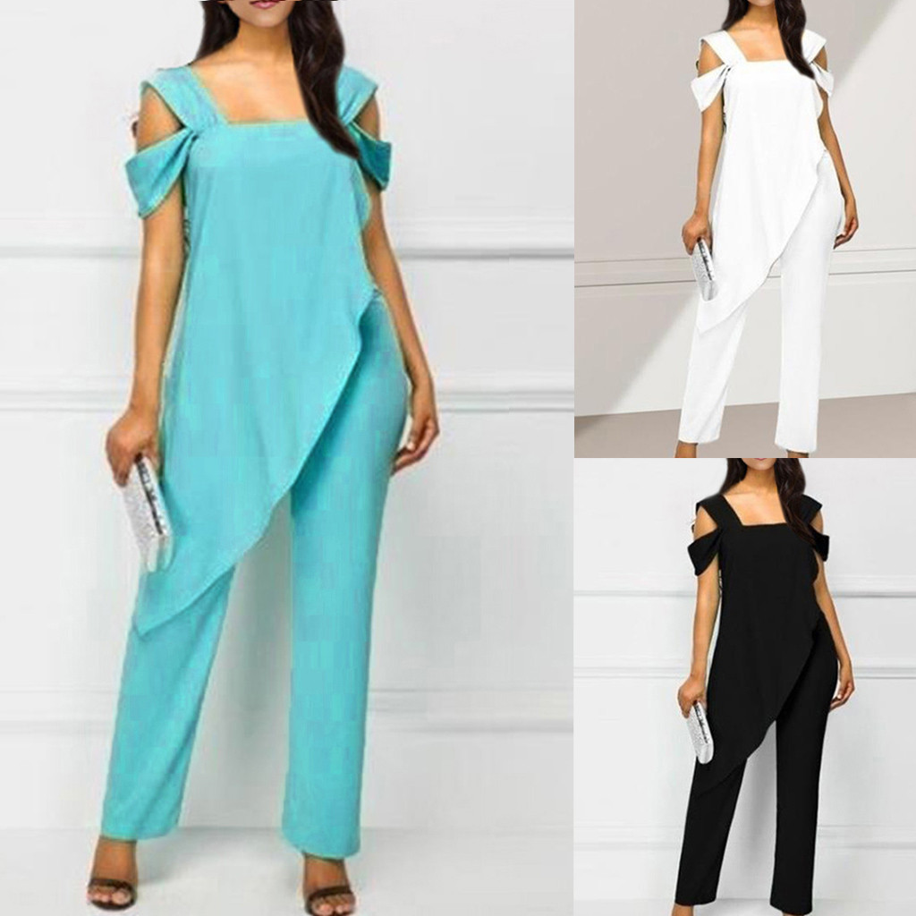 Women's summer overalls   jumpsuit   elegant Women's Fashion Slim Sleeveless Casual Irregular Pencil Plus Size   Jumpsuit   female body
