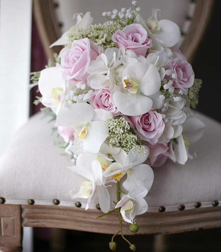 New Vintage Artificial Flowers Waterfall Wedding Bouquets Ivory Pink Cascading Bridal Bouquets De Mariage Roses Orchid 2018 Hot