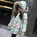 Бесплатная Доставка Девушки Зима Прекрасный цветочный узор Теплый Пальто С Капюшоном толстый длинный отрезок ребенка coa размер 120-160