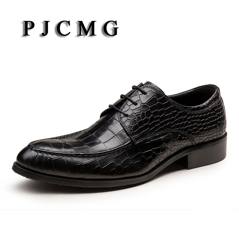 PJCMG Handmad 100% Genuine Leather Snakeskin Pattern Men Oxfod Shoes Lace-Up Casual Business Men Shoes Wedding Dress Shoes цены онлайн