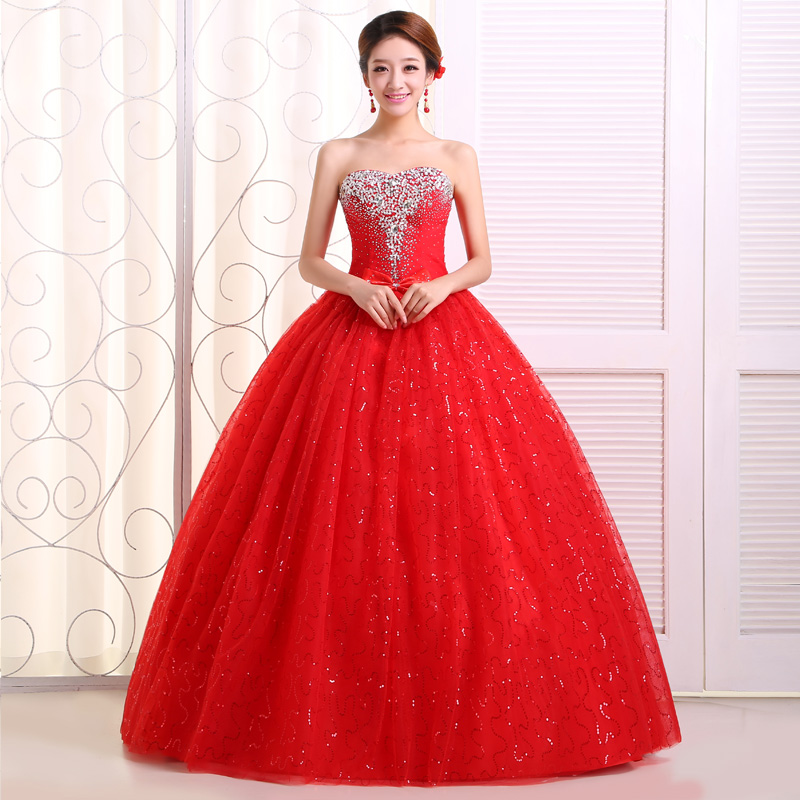Wedding Gown Bra: 2014 New Wedding Dress Handmade Diamond Drill Red Bride