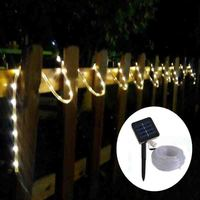 100LED 10M Solar Silicone Tube Rope Lights Waterproof Copper Wire Rope String Light With Solar Panel Christmas Garden Decorative
