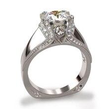 WalerV Silver Fashion Popular Wedding Ring Jewelry Cubic Zircon For Women Bridesmaid Gift