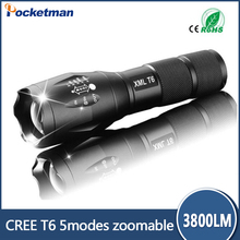 HOT E17 LED Flashlight ZOOM CREE 3800LM Waterproof Lanterna LED 5 Modes Zoomable Torch AAA 18600 battery Flashlight Linterna led
