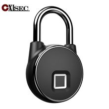 USB Keyless door lock smart fingerprint padlock waterproof IP65 outdoor safe bag  bicycles