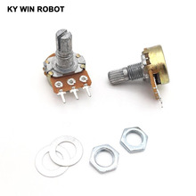 10pcs WH148 Linear Potentiometer 15mm Shaft With Nuts And Washers 3pin WH148 B1K B2K B5K B10K B20K B50K B100K B250K B500K B1M 142 vertical double potentiometer b50k flower stem length 13mm