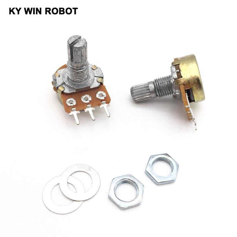 10pcs WH148 Linear Potentiometer 15mm Shaft With Nuts And Washers 3pin WH148 B1K B2K B5K B10K B20K B50K B100K B250K B500K B1M