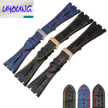 Натуральная кожа часы с крокодил смотреть аксессуары 28 мм двойной кожа кожаный Ремешок Для Часов Часовые аксессуары